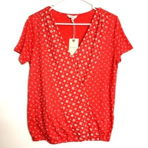 Lucky Brand Women's Wrap Top Red Small NEW